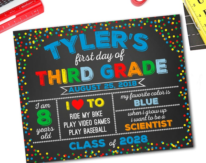 First Day Of School Sign, Back To School Sign, Chalkboard Sign, School Photo Prop, 1st Day Of School Sign, Any Grade, DIY Printable