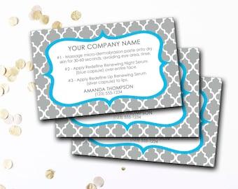 Mini Facial Card, Customized Mini Facial Card, Personalized Mini Facial Card, Blue And Gray Mini Facial Card, DIY Printable