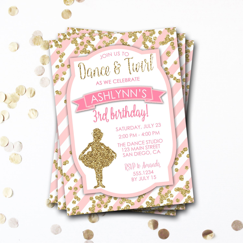 Ballet Birthday Invitation, Ballerina Birthday Invitation, Tutu ...