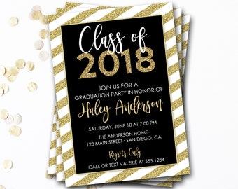 Black and Gold Graduation Invitation, Class of 2018, Glitter Graduation Invitation, Graduation Announcement, Grad Invitation, Grad Party