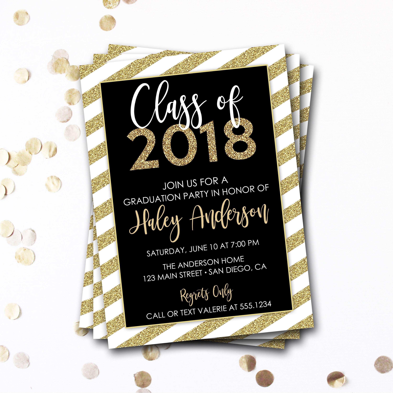 Black and gold graduation invitation class of 2018 glitter black and gold graduation invitation class of 2018 glitter graduation invitation graduation announcement grad invitation grad party filmwisefo