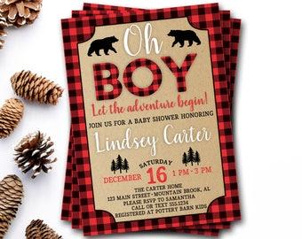 Buffalo Plaid Baby Shower Invitation, Lumberjack Baby Shower Invitation, Red Plaid Baby Shower, Rustic Baby Shower, Rustic Boy Baby Shower