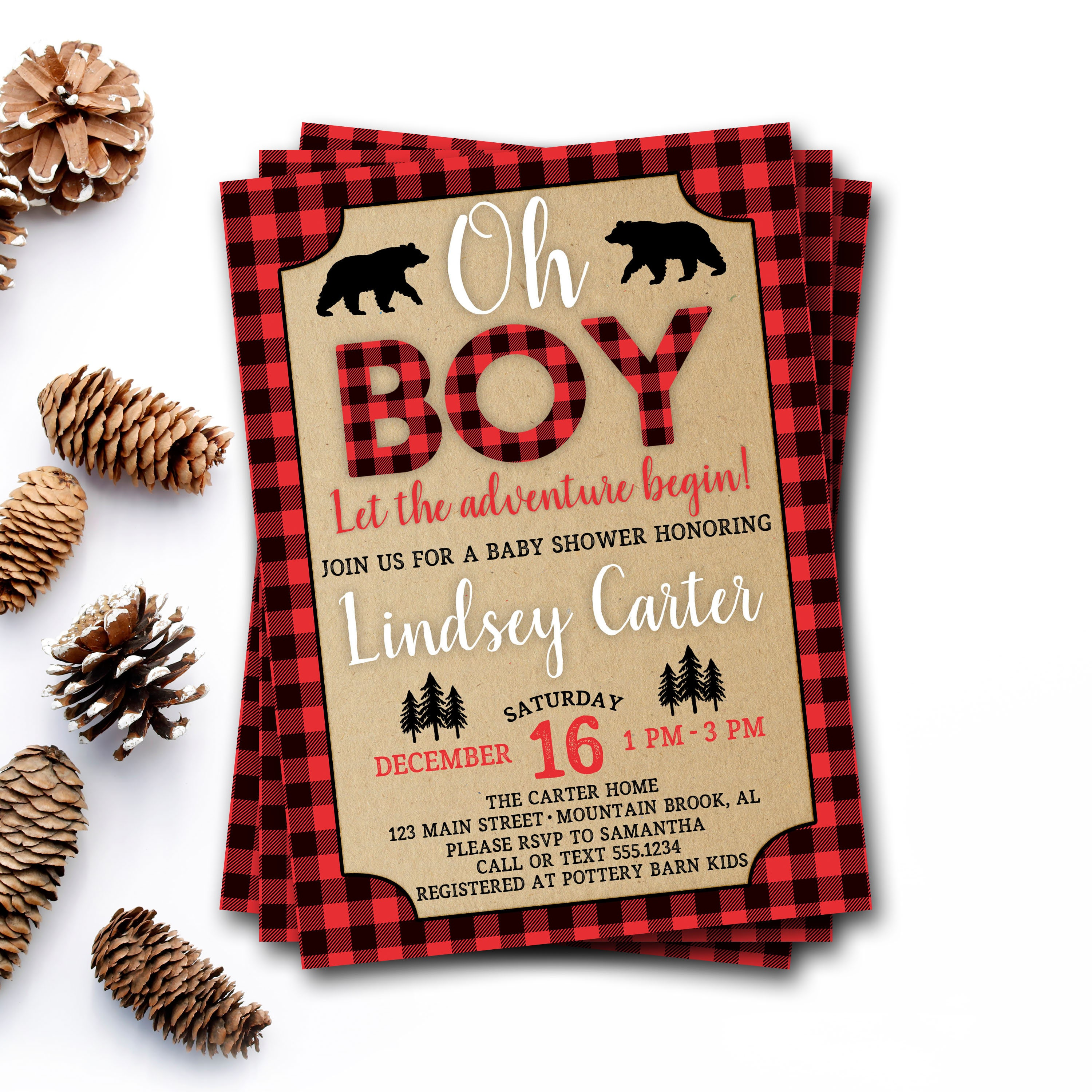 Buffalo Plaid Baby Shower Invitation, Lumberjack Baby Shower ...