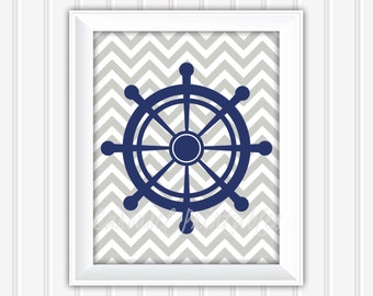 Nautical Wheel Wall Art, Printable Wall Art, Instant Download, Childrens Wall Art, Kids Wall Art, Nursery Wall Art, DIY Wall Art