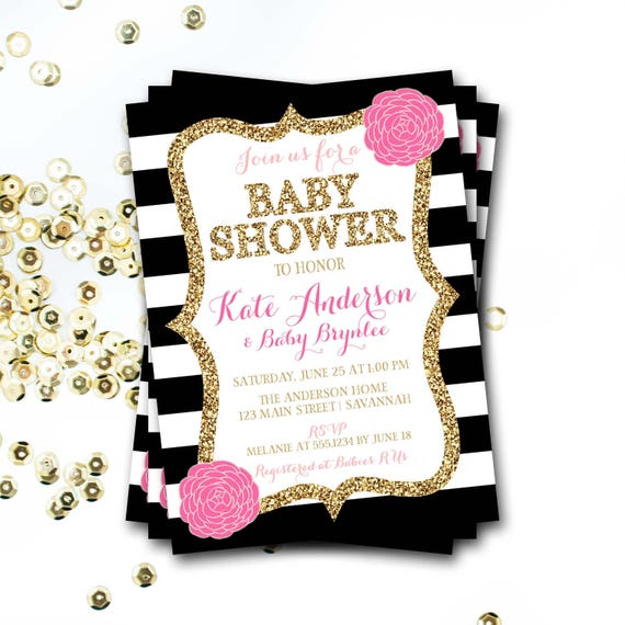 pink black and gold baby shower invitation pink floral baby etsy