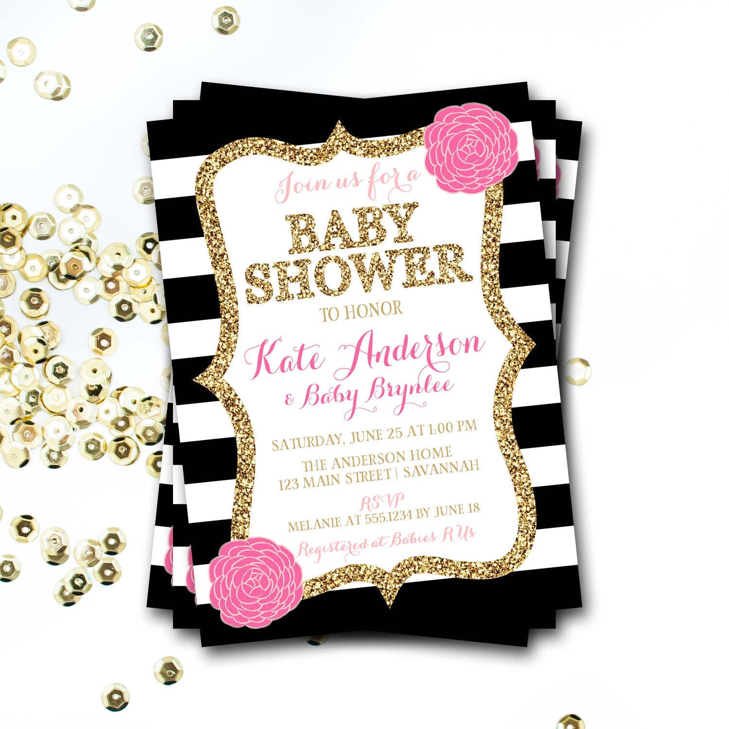 Pink black and gold baby shower invitation pink floral baby shower pink black and gold baby shower invitation pink floral baby shower pink and gold baby shower invitation gold glitter baby shower filmwisefo