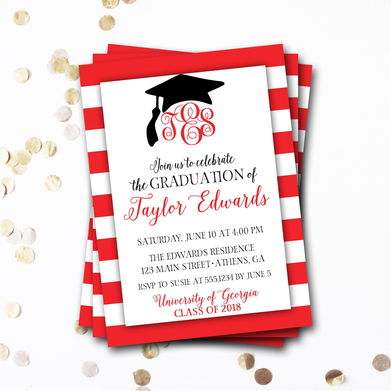 Monogram Graduation Invitation, Red Graduation Invitation, Red and ...