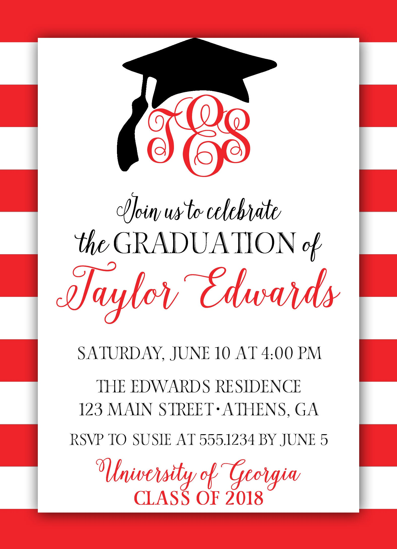 Monogram graduation invitation red graduation invitation red and gallery photo gallery photo filmwisefo