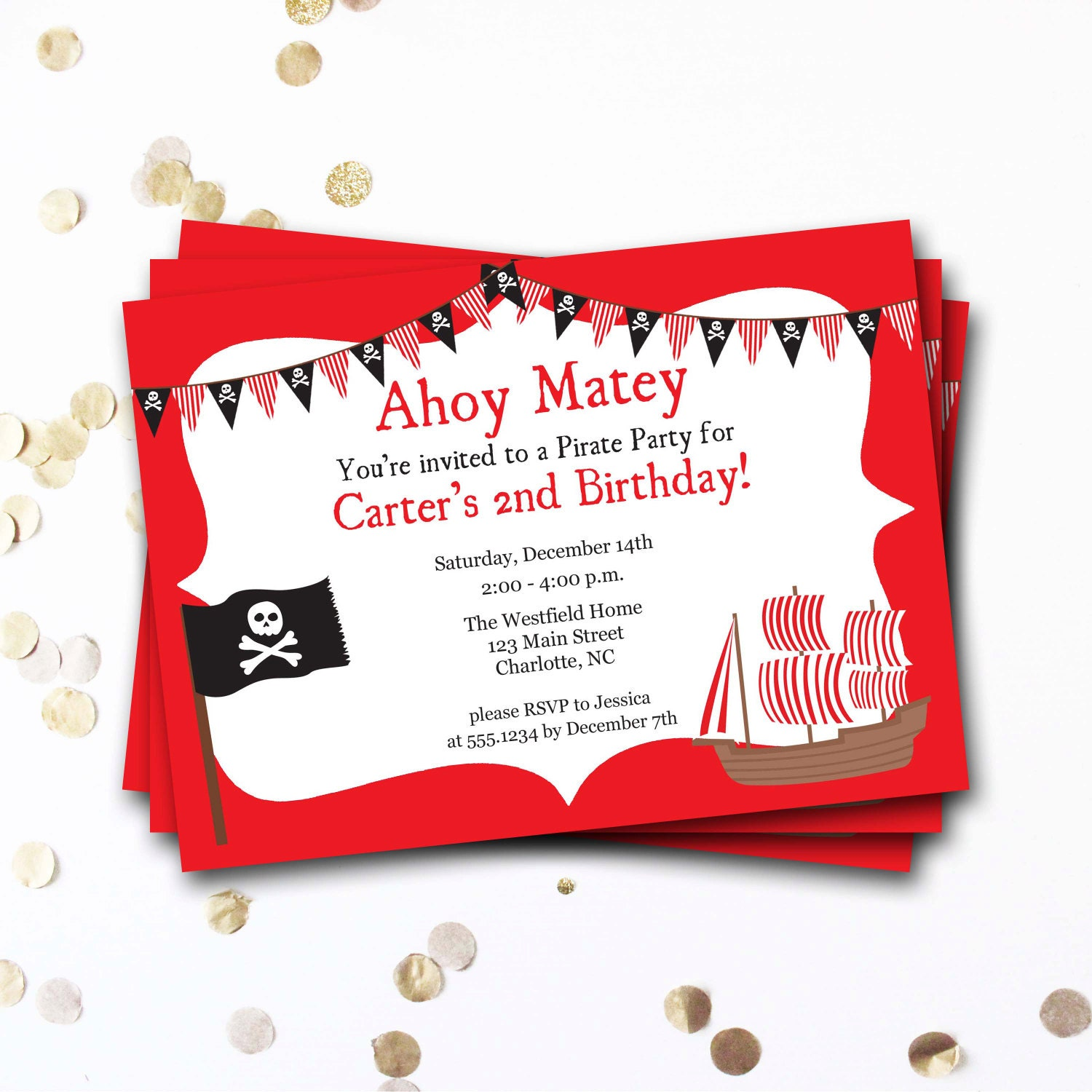 Pirate Birthday Invitation, Pirate Invitation, Pirate Ship, Pirate ...