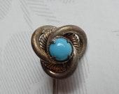 Antique Vintage Yellow Metal Glass Turquiose Stickpin Cravat Pin