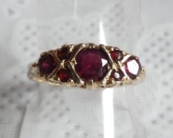 528fd43f8ed8 Vintage 9ct Yellow Gold Ruby Eternity Ring