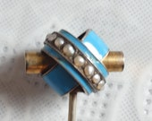 Vintage Antique 9ct Yellow Gold Turquoise Enamel and Real Pearl Stick Pin Cravat Pin