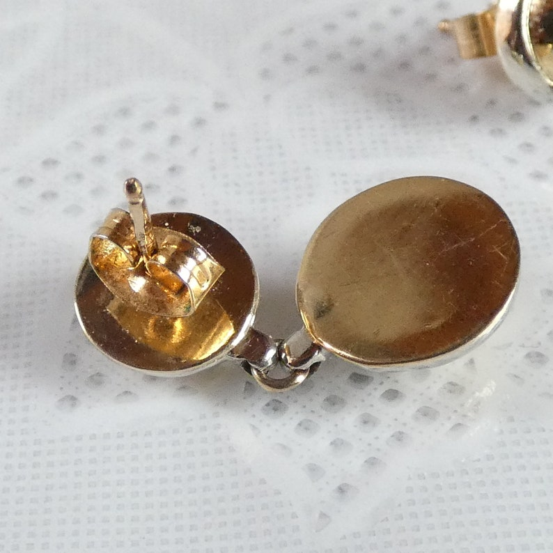 9ct Yellow and White Gold Drop Earrings