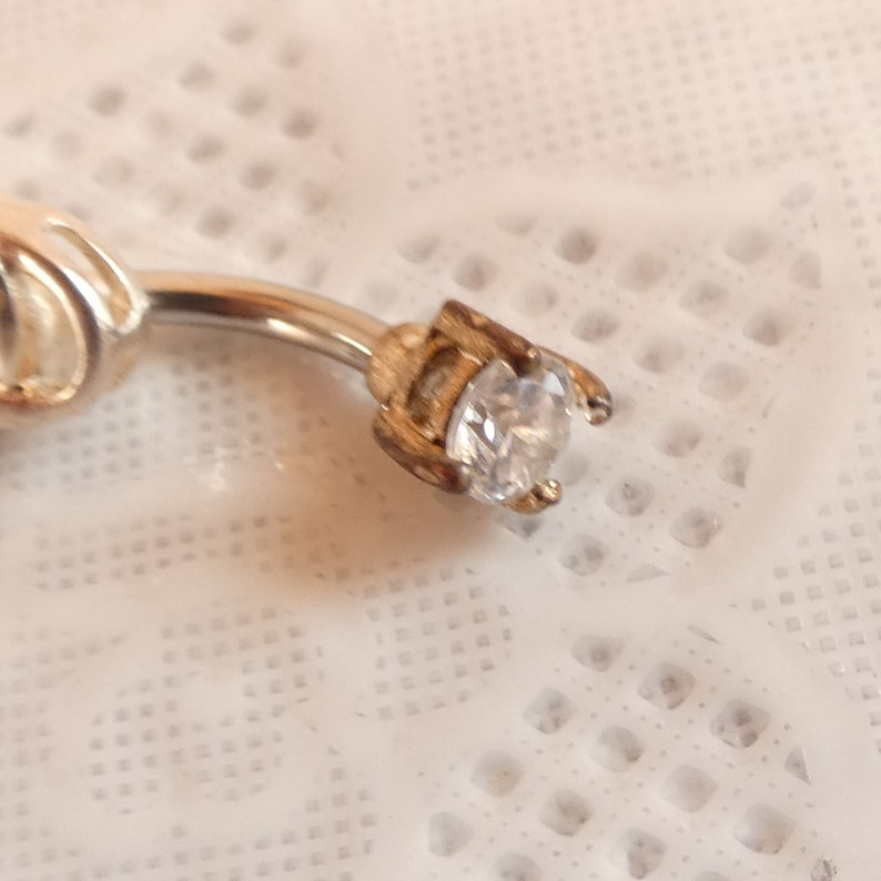 Sterling Silver Blue and White  CZ Belly Bar