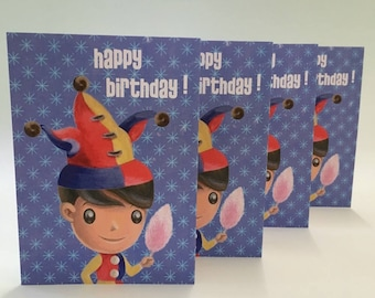 Harlequin Boy Birthday card packet of 4