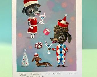 Santé Christmas original artwork by Martin Harris