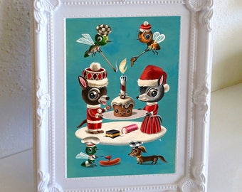 Original artwork - 'Santa's Little Helpers' gouache and watercolour painting by Martin Harris