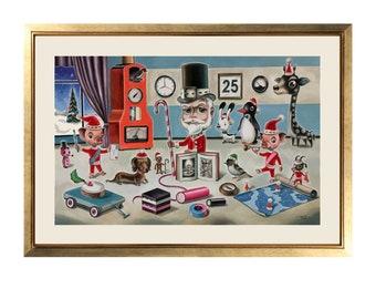 Santa's Studio original artwork by Martin Harris. Watercolour and gouache painting. Perfect for framing!
