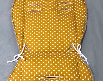 Seat pad mustard yellow for stroller and buggy