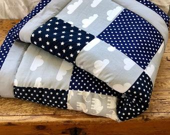 Crawling blanket patchwork blanket grey/blue