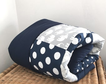 "Crawling blanket ""blue with elephants"""