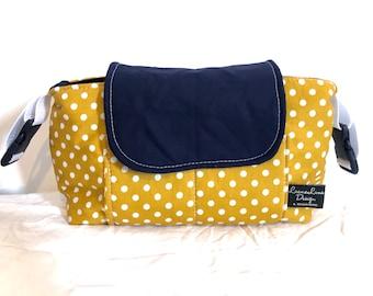 stroller organizer mustard yellow/ dark blue