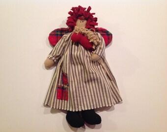 Raggedy Ann doll Christmas Raggedy Ann doll Raggedy Ann rag doll Primitive Raggedy doll Americana Ann doll Stick horse Raggedy angel doll