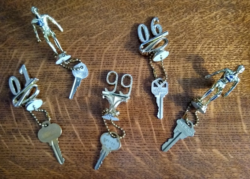 Vintage Upcycled Repurposed Trophy Top Key Chain Keychain image 0
