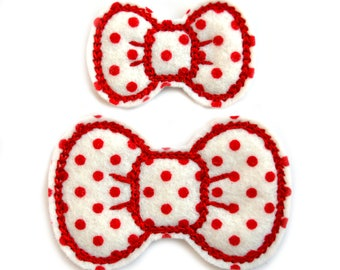 Red Polka Dot Bitty Bows - 100% Wool Felt Hair Clips for Babies, Toddlers, Girls, & Women - Embroidered Felt Hair Bows, Red and White Bows