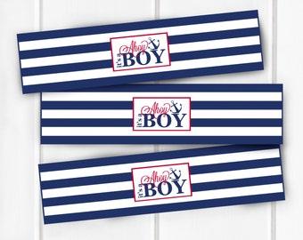 Nautical Water Bottle Labels, Ahoy It's A Boy Water Bottle Labels, Baby Shower, Nautical Baby Shower Decorations, Decor, Item 205
