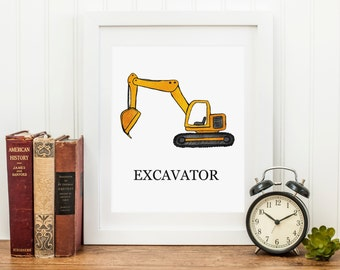 Excavator Construction Art Print, 8x10 Instant Download, Printable, Item 230