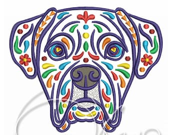 MACHINE EMBROIDERY DESIGN - Calavera Boxer, Dia de los muertos, calavera dog, day of the dead