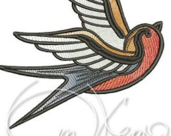 MACHINE EMBROIDERY DESIGN - Old school tattoo embroidery, swallow embroidery, old school swallow
