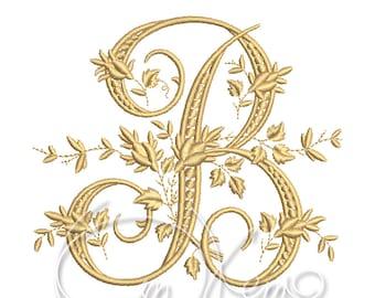 Machine embroidery design Victorian Letter B alphabet antique Monogram PES Instant download 4x4 7x5 design
