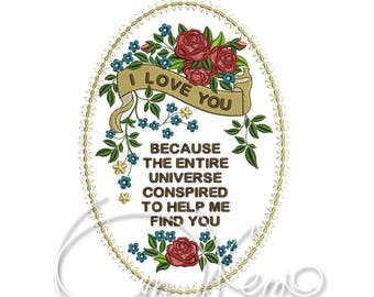 MACHINE EMBROIDERY DESIGN - I Love you qoute, I love you embroidery, Valentines day