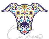 MACHINE EMBROIDERY DESIGN - Calavera Greyhound, Dia de los muertos, Mexican design, Halloween design, calavera dog, Day of the dead