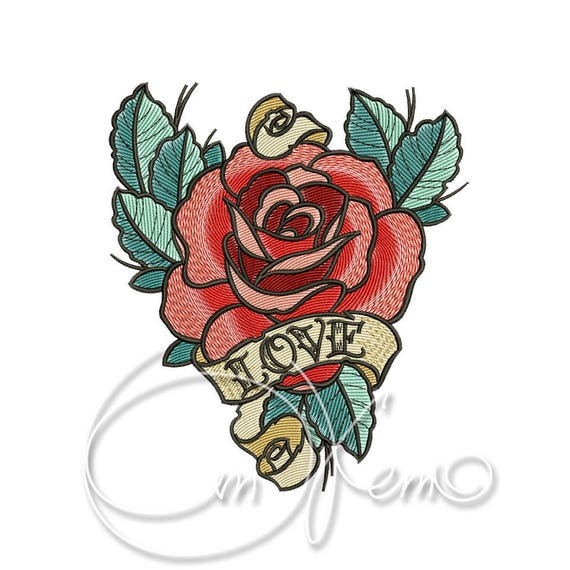 Machine Embroidery Design Old School Rose Old School Tattoo Etsy