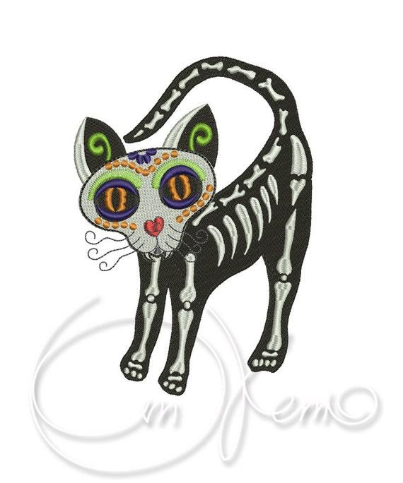 DISEÑO de bordado la máquina gato Calavera día de los | Etsy