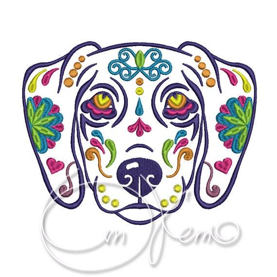 DISEÑO de bordado la máquina perro Calavera Begal día de | Etsy