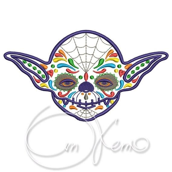 MÁQUINA del bordado diseño bordado Calavera Yoda día de los | Etsy