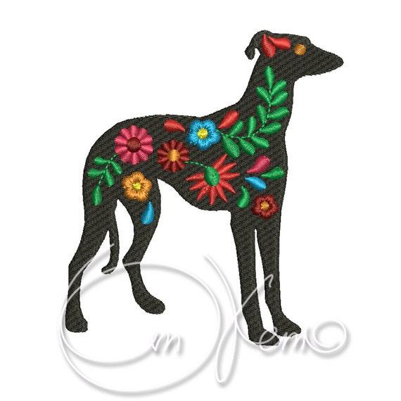 MÁQUINA del bordado diseño Whippet mexicana Calavera Dia | Etsy