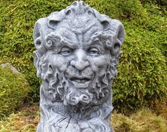 Horned God, Cernunnos Statue, Pan Statue, Greenman Statue, Green Man Décor,  Wiccan Pagan Decor