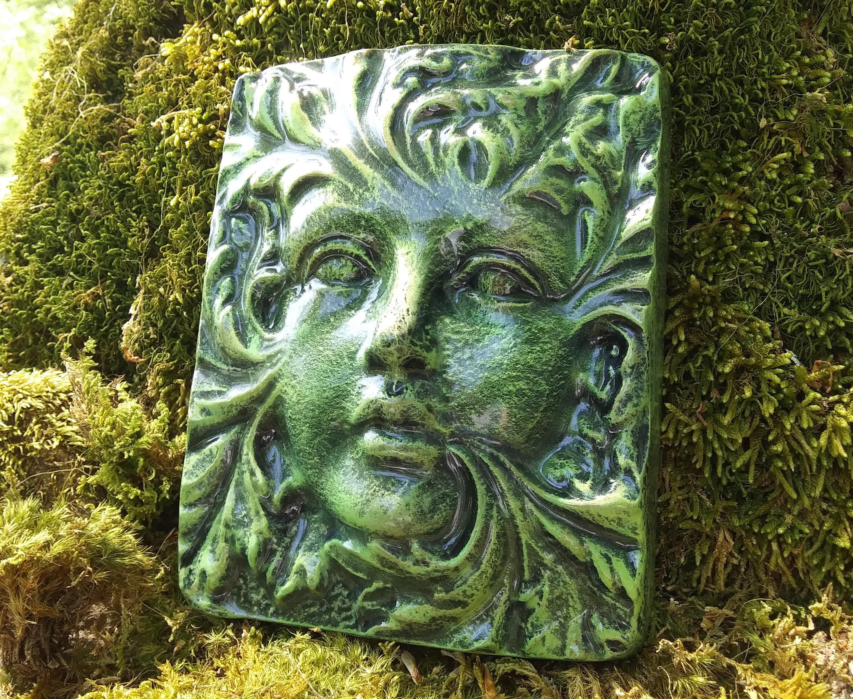 Ancient Gaia Statue goddess wall plaque, garden goddess wall plaque, gaia wall hanging, green  woman wall plaque, green woman sculpture, garden goddess plaque