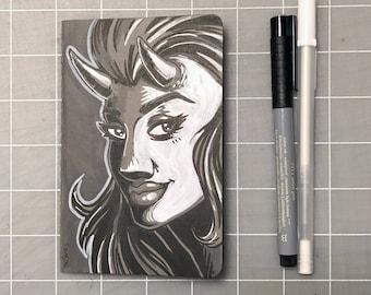 """Devil Girl custom 3.5"""" x 5.5"""" Moleskine Lined Notebook"""