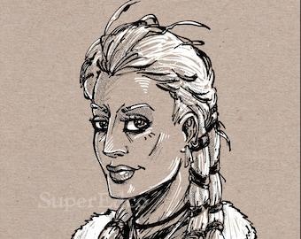 Viking Woman Portrait Illustration 5x7 Art Print