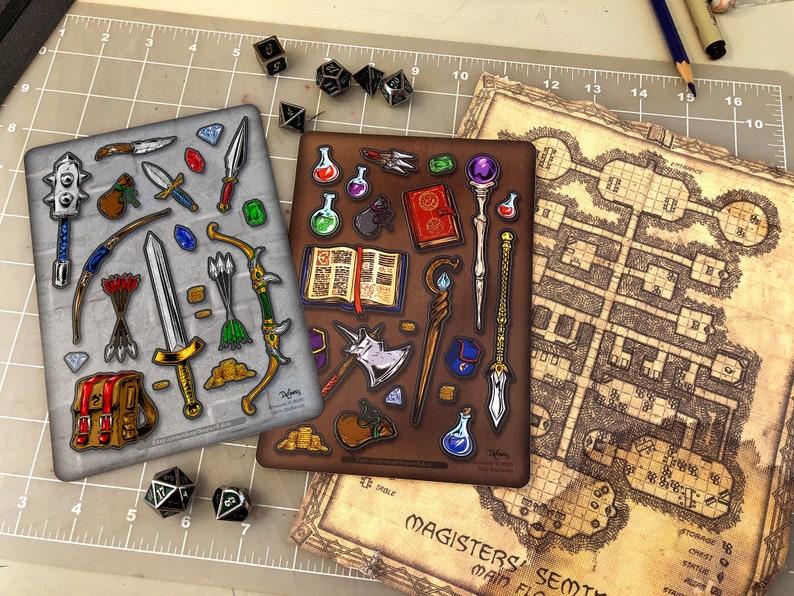 Fantasy Adventure Weapon  Magic RPG D&D Sticker Sheets image 0