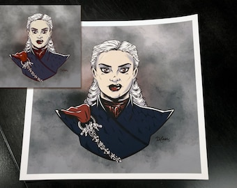 Daenerys Targaryen art giclée print, Game of Thrones illustration