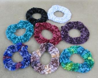 Velvet Crochet Scrunchie - hair tie, hair elastic, crochet hair accessory ponytail holder