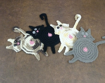 Cat Butt Coaster - Tabby, Black and Grey with White Eyes