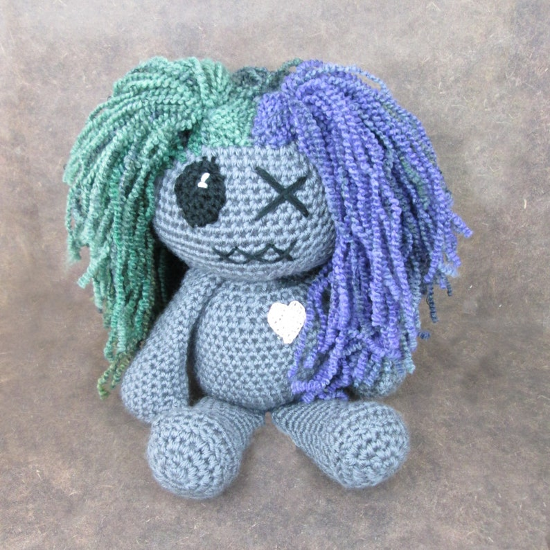 Large him and her voodoo dolls couple gift anniversary gift Green/Purple hair